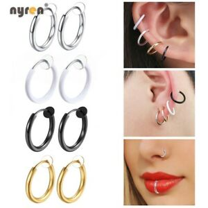 Multi Color Fake Piercing Earring Ring Hoop Ear Lip Nose Body