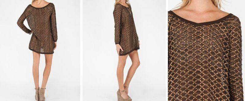 NWT Free People  Joan New Romantics knit  tunic dress sweater copper thread