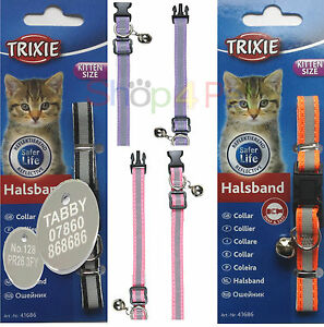 Cat-Collar-Kitten-Size-TRIXIE-REFLECTIVE-With-or-Without-a-ENGRAVED-PET-ID-TAG