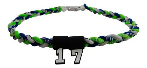 NEW Neon Green Navy Blue White Tornado Necklace w// YOUR NUMBER Baseball Softball