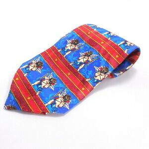 Valentine-039-s-Day-Tie-Masked-Cupid-Blue-w-Red-Bands-Hearts-100-Silk