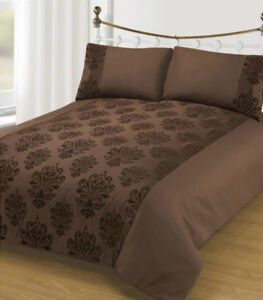 Lit-simple-housse-de-couette-DonnaBella-Floque-Damasse-Marron-Chocolat-Polyester
