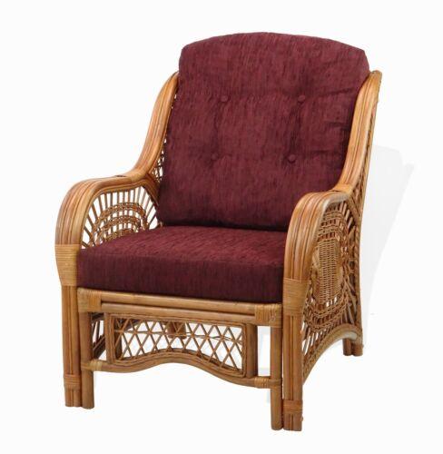 Lounge Armchair Malibu Handmade ECO Rattan Wicker w//Dark Brown Cushions Cognac