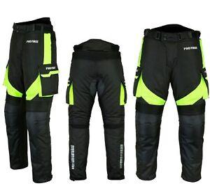 Motorradhose-wasserdichte-Textilhose-GRUN-Protektoren-Taschen-Gr-XS-6XL