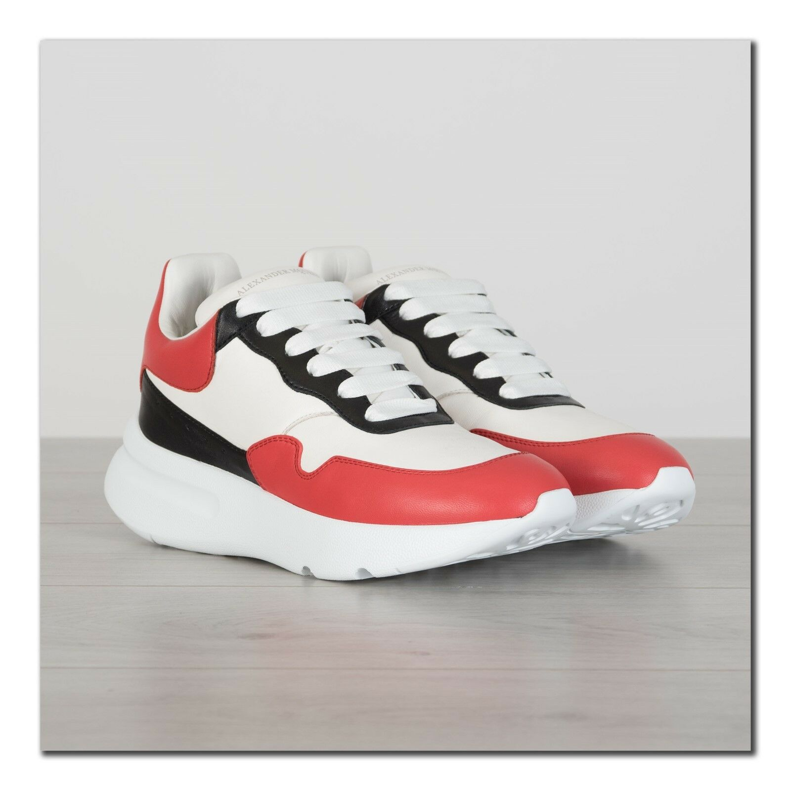 ALEXANDER MCQUEEN 590  New Oversized Sneakers In White, Red & Black Leather