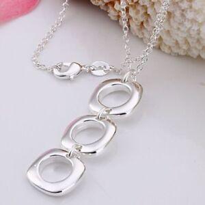 ASAMO-Damen-Halskette-3-Vierecke-925-Sterling-Silber-plattiert-H1053