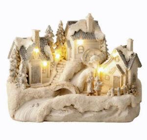 Winterlandschaft 3 Hauser Mit Beleuchtung I7929 Weihnachtsdeko Ebay