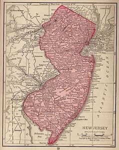 1928 Antique NEW JERSEY Map MINIATURE Vintage State Map of New Jersey