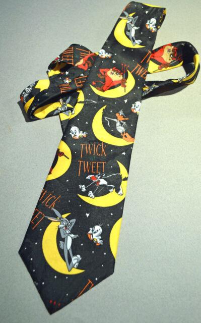 Vintage HALLOWEEN Bugs Bunny Taz DEVIL Tweety Looney Tunes NOVELTY Neck Tie 1996