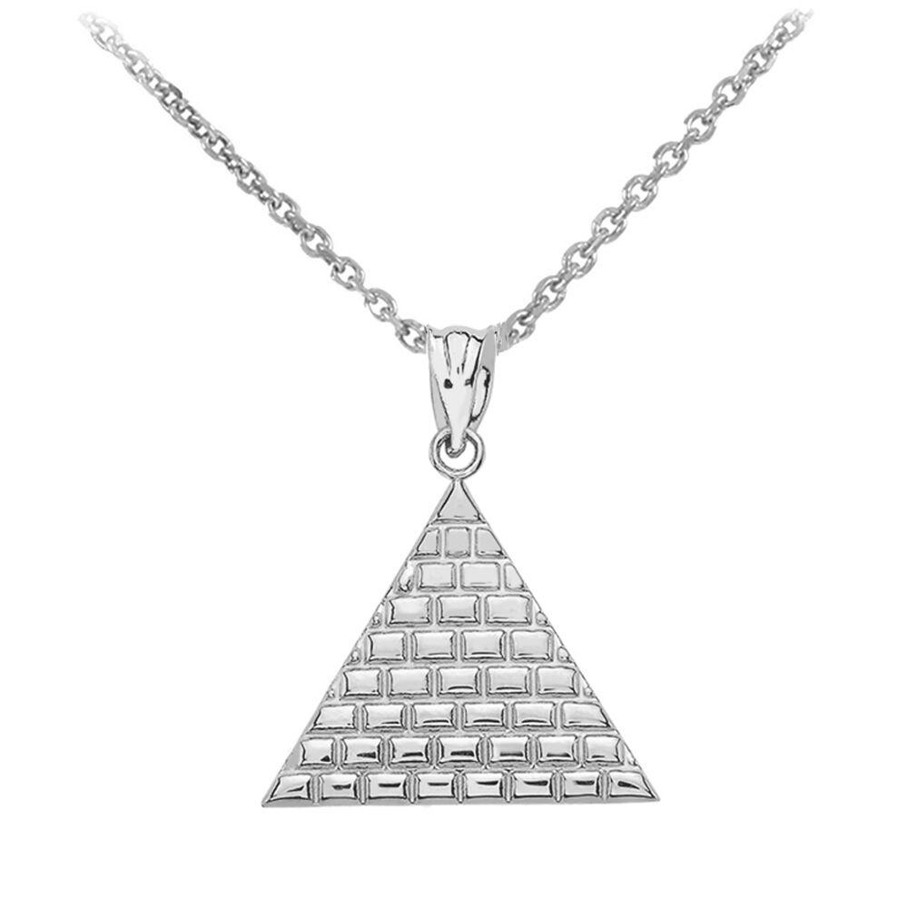 Delicato 14k oro oro oro Bianco Egiziano Piramide Geometrico Triangolo b6af5d
