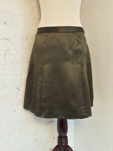af6717504f9 Details about Banana Republic Silk Satin Pleated Mini Skirt Army Green size  2