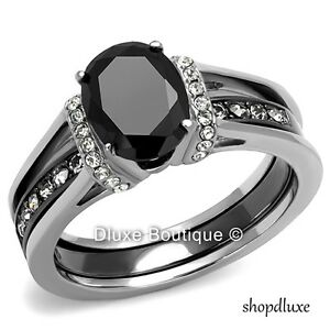 2-50-CT-OVAL-CUT-CZ-BLACK-STAINLESS-STEEL-WEDDING-RING-SET-WOMEN-039-S-SIZE-5-11