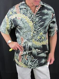 Shirt Pineapple H56 Palm Silk Hawaiian Aloha New herenkleed Bahama Tommy N0wOX8nkP