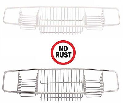 NON RUST S.STEEL WHITE PLASTIC COATED OVER BATH SHOWER CADDY TUB TRAY RACK Plastic Coated
