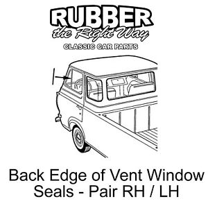 1961 1967 ford econoline van back edge of vent window seals pair 61-67 Ford Econoline image is loading 1961 1967 ford econoline van back edge of