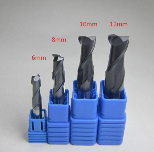 4PCS HRC45 6MM 8MM 10MM 12MM 2 flute CNC carbide end mills milling set for steel