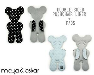 EXCLUSIVE-Pushchair-Padded-LINER-2-PADS-SET-Double-sided-Fleece-Pram-Seat