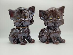 PAIR-OF-VINTAGE-JAPAN-REDWARE-POTTERY-BROWN-CAT-FIGURINES