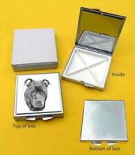 Staffordshire Bull Terrier Dog Polished Metal Square Pill Box Gift