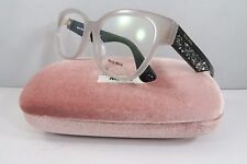 Miu Miu VMU 06O-A UE2-1O1 Clear on Black/Rock Crystals New Eyeglasses 54mm Case