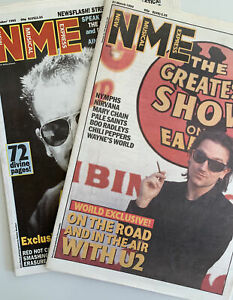 NME Music Magazines 21 March 1992 & 21 Oct 1995 U2, Nirvana, Chili Peppers
