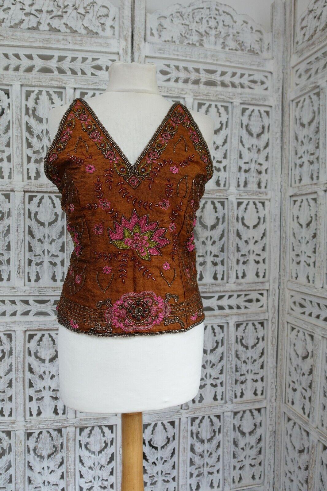 "Brown raw silk strappy Tunic / kameez / sari blouse fit bust 33"" halter SKU16423"
