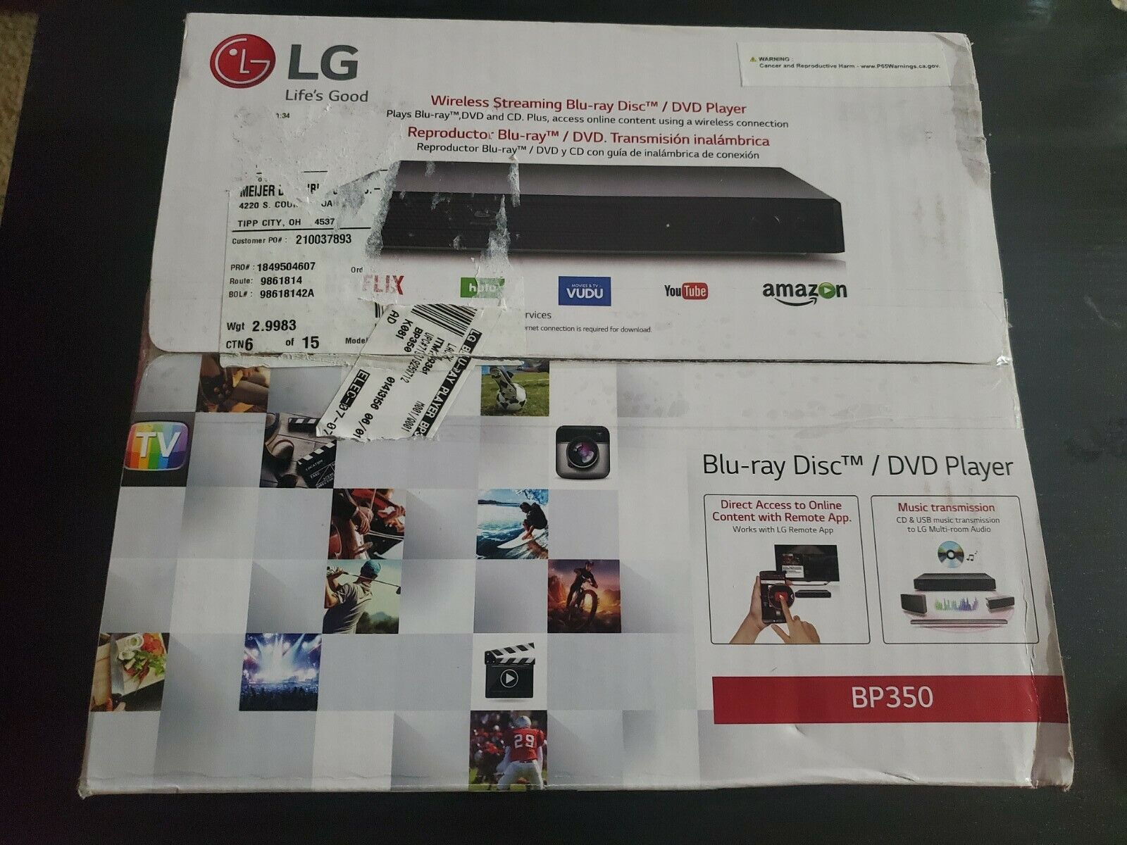 Brand New Sealed Wireless Streaming LG-BP350 Blu-Ray/DVD Player. Stickers On Box box brand new sealed stickers streaming wireless