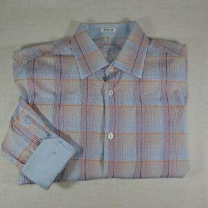 Bugatchi-Men-s-Shaped-Fit-Button-Down-Plaid-Flip-Cuff-L-Shirt-Large