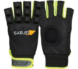 *NEW* Grays Field Hockey Glove Half Finger Left Hand Small Black//Neon Yellow