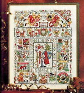 Christmas-FOLK-ART-MOTIF-Sampler-Santa-Angel-Cross-Stitch-Chart-Donna-Kooler