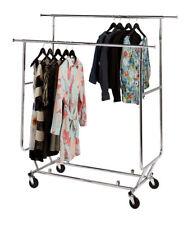 Clothing Rack Double Rail Bar Commercial Folding Garment Rolling Adjustable