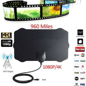 Indoor-Digital-TV-Antenna-960-Mile-Aerial-Signal-Amplified-Thin-HDTV-HD-Freeview