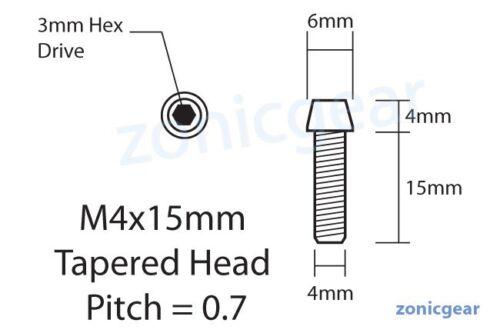 X6 Nouveau CNC titane Boulon M4x15mm Tapered Head Hex M4 15 L vélo à vis