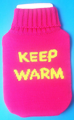 100% Acrylic.* Bright And Cheery 20cmx34cm Quality Pink Hot Water Bottle Cover