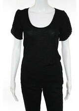 Valentino NWT Black Wool Short Sleeve Scoop Neck Knit Top Size Italian 44 $690