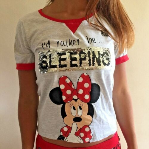 PRIMARK MINNIE MICKEY MOUSE 2 WAY BRUSH SEQUINS PYJAMAS SET TOP SHORTS SET PJS