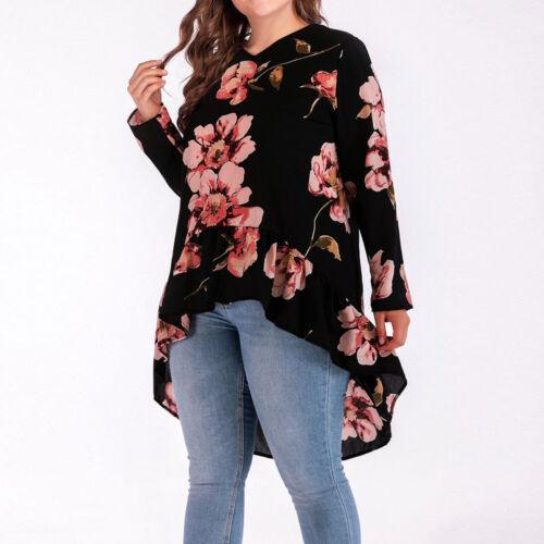 Plus Size Women O-Neck Floral Print Chiffon Long Sleeve Casual Tops Blouse Shirt