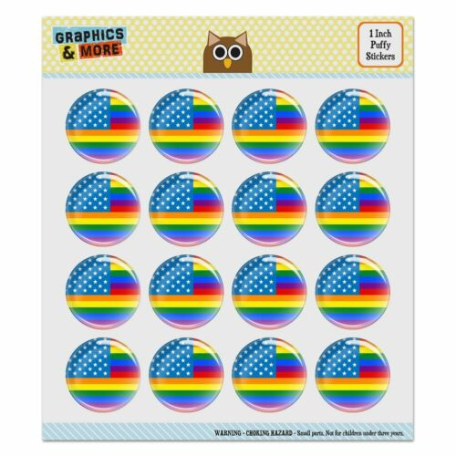 Gay Pride American Flag Rainbow Puffy Bubble Scrapbooking Sticker Set