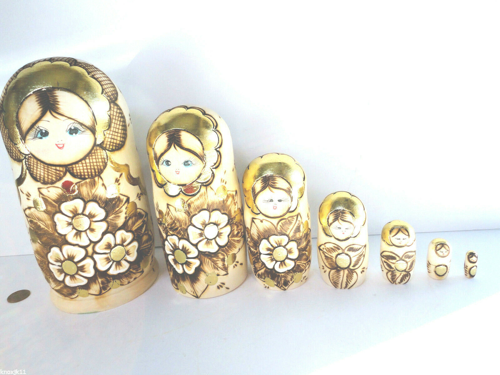 Neu Set (7) Russische Made Holz Matrjoschkapuppen Holz Stapel Matryoshka