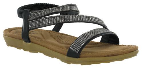Womens Sandals Fashion Jewel Ella Slingback Open Toe Comfort Padded Footbed
