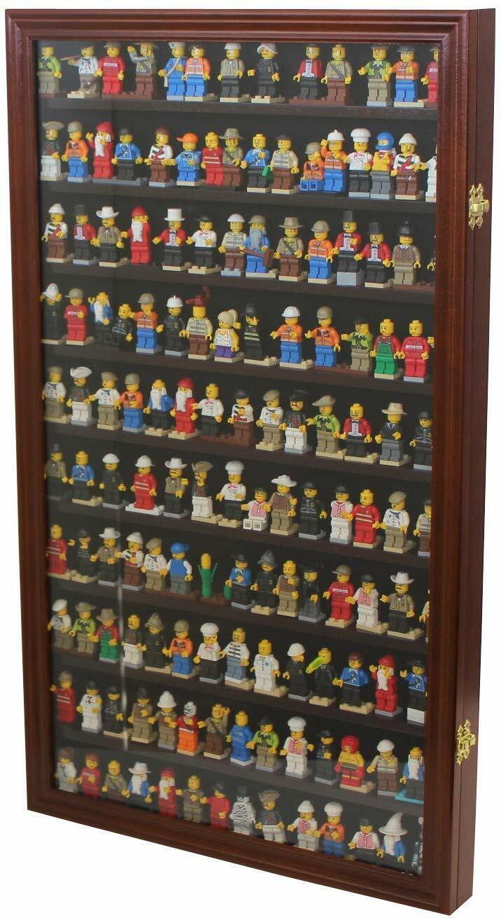 Minifigures Display Case Wall Thimble Cabinet Shadow Box-Mahogany