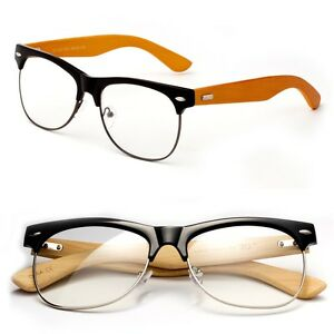 f2d1946b0a4 Bamboo Clear Lens Glasses Half Frame Vintage Non Prescription for ...