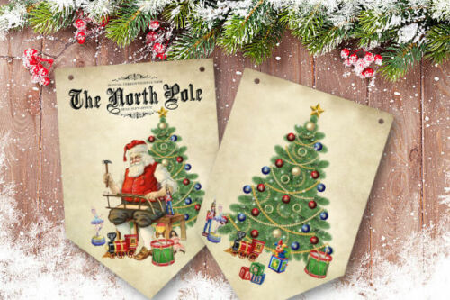 Santa/'s North Pole Toy Workshop Christmas Bunting//Banner /& Ribbon