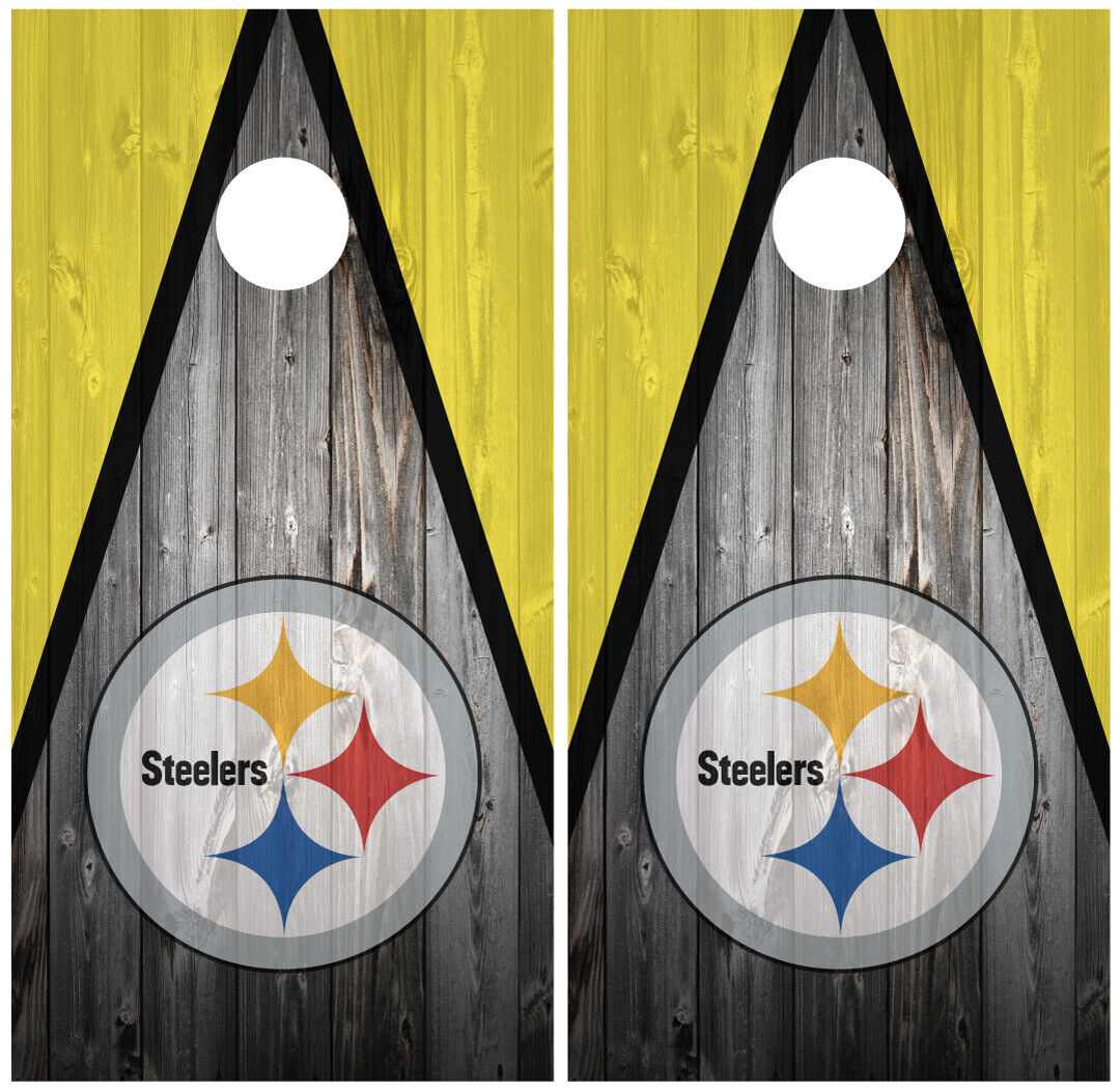 Pittsburgh Steelers 2 Cornhole Board  Wraps Skins Vinyl Laminated HIGH QUALITY   retail stores