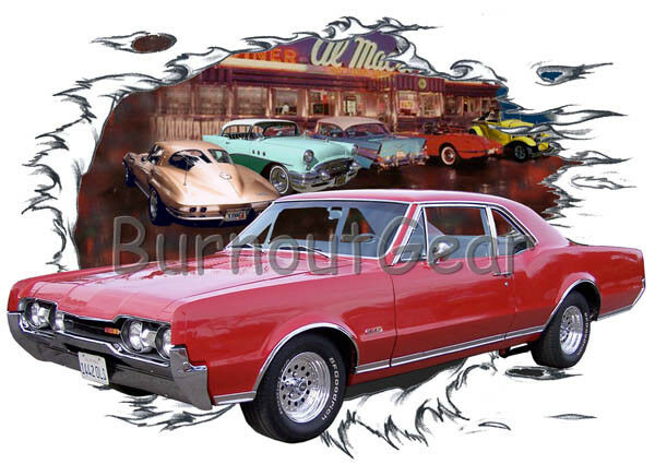 1967 ROT Oldsmobile 442 Custom Hot Rod Diner T-Shirt 67 Muscle Car Tees