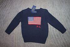 Ralph Lauren Toddler Boys Navy Flag Sweater - Size 2T - NWT
