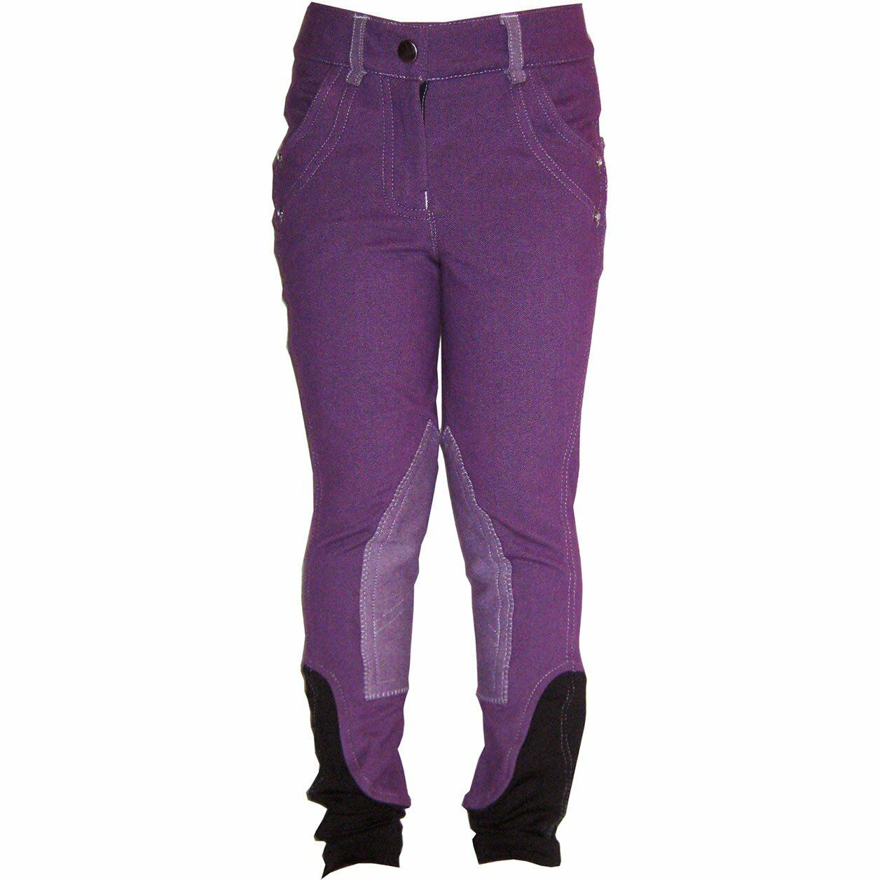 Horseware Junior Knitted Denim Kids Pants Riding Breeches - Purple All Sizes