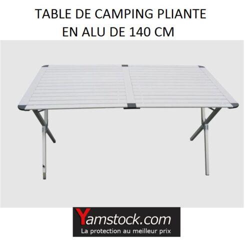 Table de camping pliante en alu de 140cm