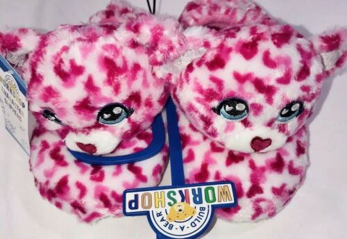 Build A Bear Girls Slippers Cat Kitten SZ M 12/13 Pink Red Hearts Rubber Sole