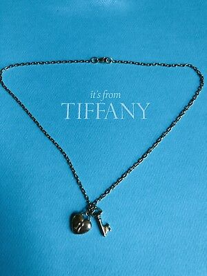 100 Authentic Tiffany Co Yellow Gold Puff Heart Lock And Key Necklace Rare Ebay